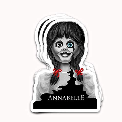 HavanShop Annabelles Film Supernatural Horror Doll Black Tears Portrait Vintage Logo Fan Arts Stickers for Laptops Tumblers Books Luggages Cases Pack 3x4 in Vinyl 3pcs/Pack