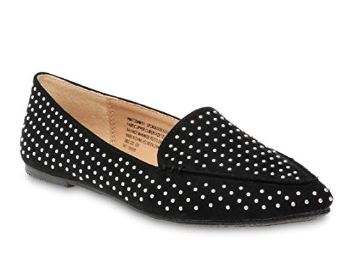 Time and Tru Feather Women's Flats Shoe, Black with Chrome Studs (9.5 W)