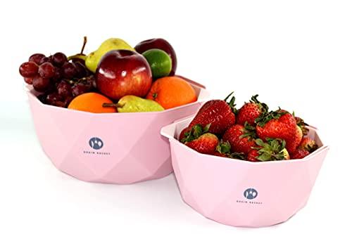 Simply Sylvie 4pc. Plastic Colander Set - Stylish Large & Small Pasta Drainer Set Strainers Colanders Nesting Bowls… (Pink)