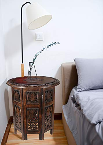 Solid Wood Hand Carved Accent Table, Side Table, Entryway Table, Wooden End Table, Octagonal Wooden Table - 18 Inch Round Top x 18 Inch High - Burnt