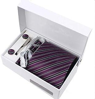 Men business affairs Formal wear purple Polyester filament Tie Clip Cufflinks Hanky Box-packed Bridegroom Gift Necktie Set...