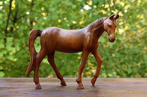 G6 Collection Large Wooden Hand Carved Walking Horse Art Figurine Statue Sculpture Handcrafted Handmade Decorative Home Decor Accent Rustic Decoration Walking Horse