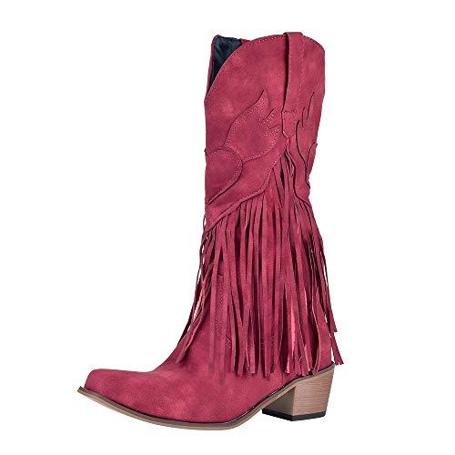 Shujin Botines bohemios para mujer, botas de vaquero con tacón de bloque Flandell con flecos, mocasín, cálidos y cómodos botines de invierno, color Rojo, talla 42 EU
