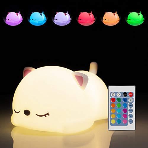 Cute Kitty Night Light For Kids,Gifts For Baby Toddler Teens Girls Children,Cat Lover,Kawaii Room...