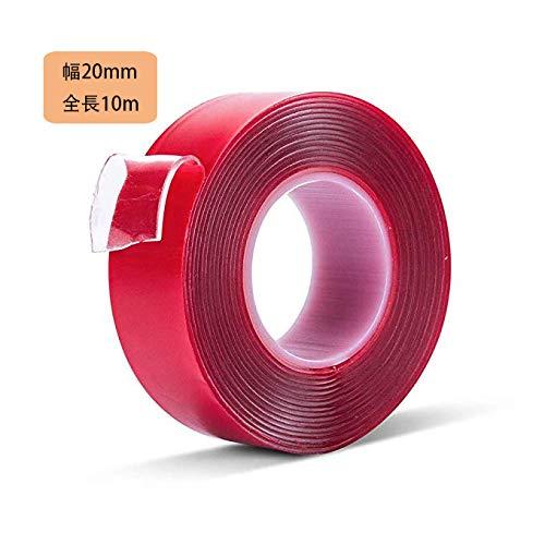 両面テープ 強力 凸凹面用 アクリルフォーム 透明 はがせる 防水用 耐候性 耐熱性 DIY 修理固定用 作業用 車用テープ(1mm x 20mm x 10m)