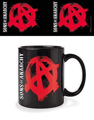 Sons of Anarchy Taza Negra Símbolo Rojo Producto Oficial