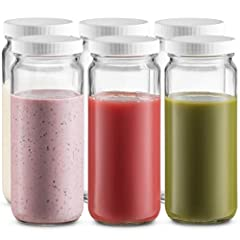 Beautiful, Modern Glass Jars Set - These 16-ounce glass jars are a great, fun, and healthy way to drink beverages such as kombucha, fresh-pressed juices, smoothies, detox water and infused-waters and are the perfect canvas for adorning with decoratio...