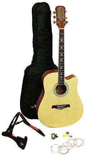 RockJam Premium Acoustic Guitar Kit, with Guitar Bag, Guitar Tuner, Guitar Stand, Plectrums & Spare Strings - Natural