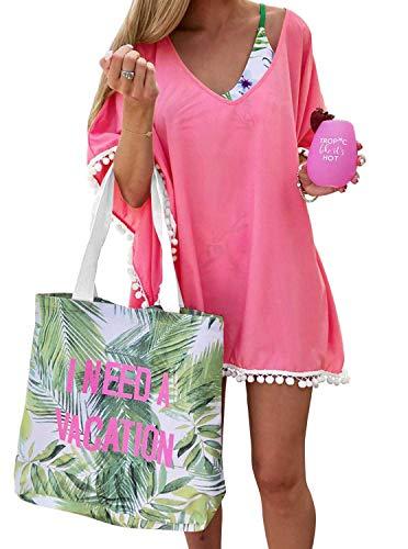 PINKMILLY Damen Strandponcho Sommer Überwurf Kaftan Strandkleid Bikini Cover Up Freie Größe Koralle Rosa