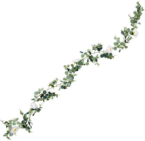 JIAJBG Artificial Rose Vine Simulation Rattan Green Leaf Silk Hanging Roses Fake Flowers Plants String Garland for Home Wedding Indoor Outdoor Wall Decor Festival Holiday Home Décor