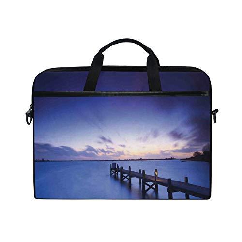FOURFOOL Laptop Tasche 15-15.4 Zoll,Landschaft eines ruhigen Sonnenuntergangs über See Plattform im niederländischen Nordhorizont,Drucken Muster Aktentasche Schulter Messenger Handtasche Case Sleeve