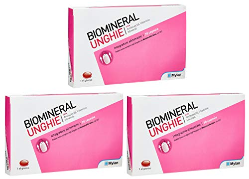 BUYFARMA PROMO PACK - 3X Biomineral Unghie da 30 - Integratore di Aminoacidi, Vitamine e Minerali - 90 Capsule + OMAGGIO