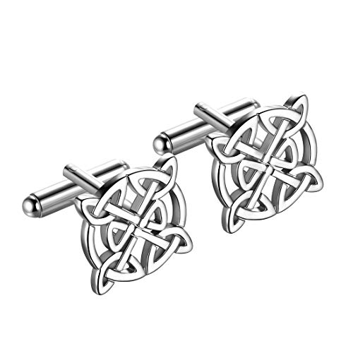 beautlace Mens Celtic Knot Cufflinks Silver Plated Good Luck Triquetra Vintage Cuff Links Irish Jewelry Gifts for Men and Women KC0003W