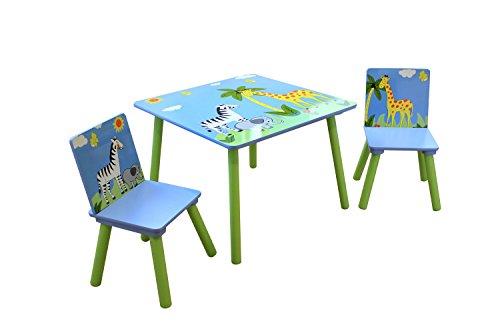 Liberty House Toys Safari Table & 2 Chairs Set, Wood, Multi-Color, 60 x 60 x 44 cm