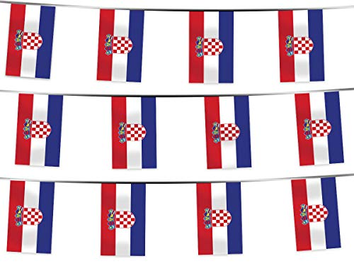 Alsino WM Wimpelkette Fahnenkette 4,5 m Flaggenkette 32 Teilnehmerländer Fanartikel (W-KR Wimpel Kroatien 4.50 m)