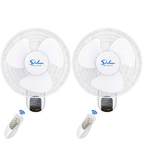 Simple Deluxe 16 Inch Adjustable Tilt, Household Oscillating Quiet for Home, Shop and Office, 90 Degree, 3 Speed Settings, ETL Certified, 1 Pack, White Wall Mount Fan, Digital Fan-1st Generation