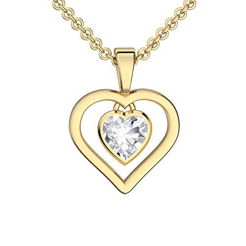 Herzkette Gold GRATIS ETUI MIT LIEBESBEWEIS Silber 925 hochwertig vergoldet Halsketten für Frauen Herz Kette Damen Schmuck Herz-Anhänger Halskette Damenkette Frauen Freundin Geschenk Geburtstag
