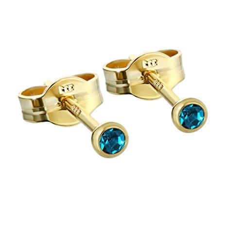 NKlaus Paar Ohrstecker Gold 333er 2,50mm türkis Zirkonia Damen Herren Kinder 5791