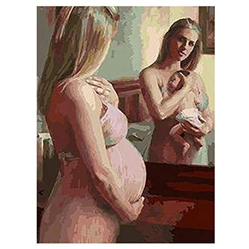 Yunzezka Pintar por Numeros para Adultos Espejo De Maternidad Pintar por Numeros Adultos Niños con Pinceles Y Pinturas-Sin Marco 40*50cm