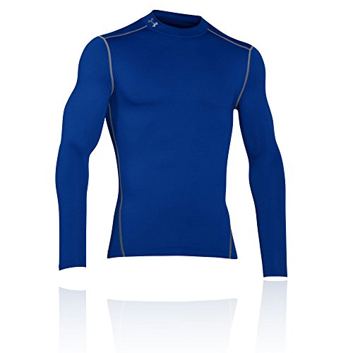 Under Armour Herren KompressionsMockShirt ColdGear Armour ultrawarmes Langarmshirt, langärmliges Funktionsshirt für Männer, Blau, L