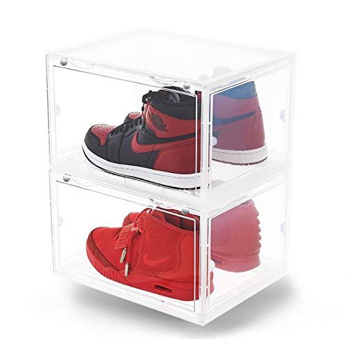 ONCCI schoenenbox, stapelbare schoenenorganizer, kunststof box met doorzichtige deur van doorzichtige stof, 4 zijden, schoenenopberger, tentoonstelling box, 36 x 28 x 22 cm, voor schoenen tot maat 46 (2 pak)