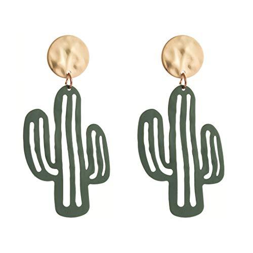 MEIBAOGE Lovely Desert Green Plant Cactus Pendientes Colgantes Joyas para Mujer Joyería de Moda, Pendientes de Moda-Verde