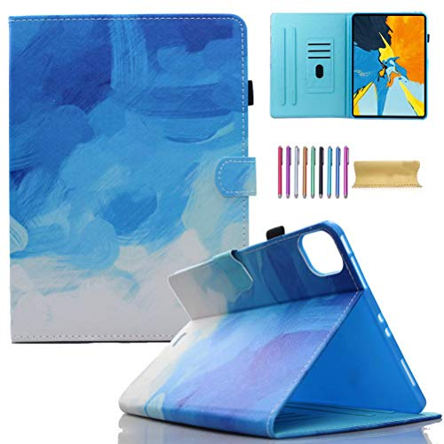 iPad Pro 11 Case 2020 & 2018, AMotie Folio Stand Smart Soft Protective Cover with Pencil Holder, Auto Wake/Sleep for New iPad Pro 11 2nd Gen 2020 (Latest Model) & 1st Gen 2018, Blue & White
