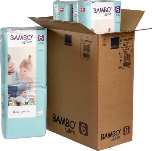 Bambo Nature Pañales ecológicos de primera calidad, tamaño XL 6 (34+lb/16+kg) protector de funda 120 unidades