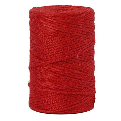 Tenn Well Red Jute Twine, 328 Feet 3mm Thick Twine Rope Crafting Twine Packing String for Gift Wrapping, Gardening, DIY Projects