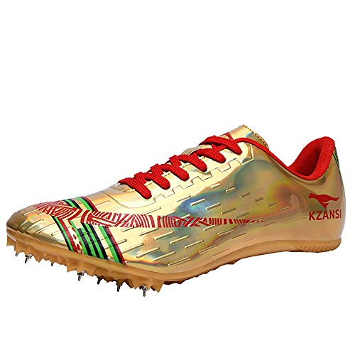 LYXIANG Männer Und Frauen-Rennen 8 Spikes Schuhe, Berufsleichtathletikschuhe Schulung Wettbewerb Nail Sneaker Weitsprung Schuhe Tragbarer,Gold,43