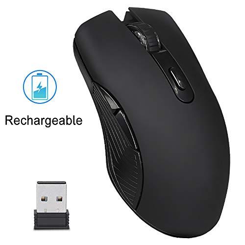 EasyULT Mouse Gaming Wireless Ricaricabile, Mouse Senza Fili 2,4G 2400DPI con Ricevitore Nano, 6 Pulsanti, 4 Livelli DPI, Mouse USB Portatile da Ottico, per PC/Computer/MacBook(Nero)