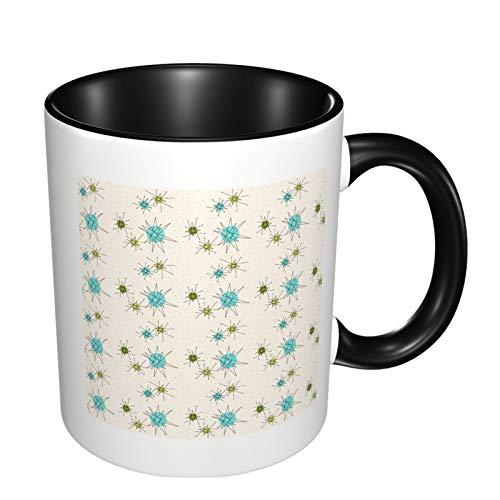Taza de café de cerámica blanca de 325 ml, con trípode, color negro, talla única