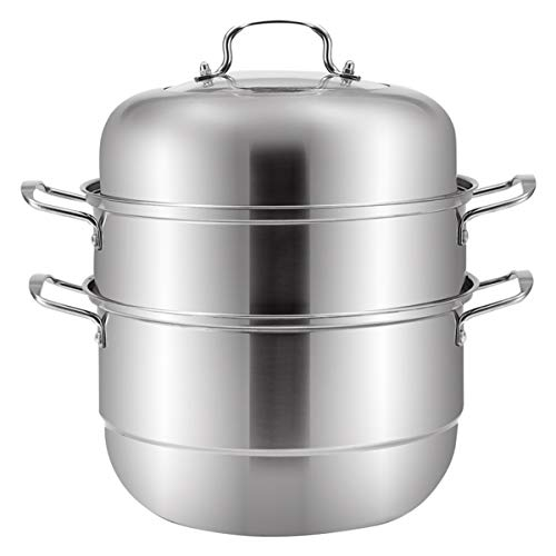 Stainless Steel Steam Cooker, Vegetables/Food/tamale/Crab/Dumplings Steam Kitchenware, 5 Quart,11-Inch,Sliver All Stove Available, Steamer for Cooking, Steam Pot.
