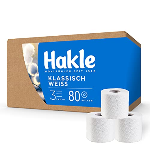 Hakle Klassisch Weiß BIG PACK (80 x 150 Blatt), komfortabel weiches WC Papier, 3-lagiges Toilettenpapier für die sanfte tägliche Reinigung, Klopapier ohne Plastikverpackung