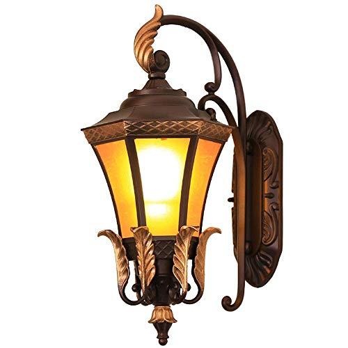 Mengen88 LED-buitenwandlamp (1 x 60 W geïntegreerde LED, weerbestendig IP44) transparante glazen bol voor wand, garage, veranda - bruin