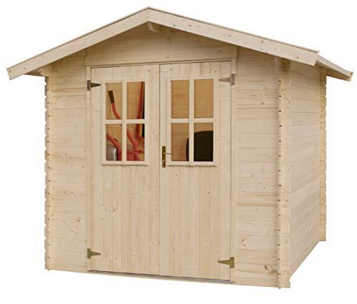Gartenhaus 881457 aus massivem Nadelholz | Gerätehaus inkl. Holzfussboden | Geräteschuppen naturbelassen ohne Farbbehandlung (180 x 180cm)