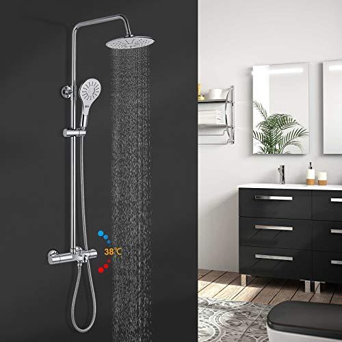 Duschsystem mit Thermostat, BONADE Duschset mit Armatur Duschset, 9 zoll Duschkopf, Thermostatmischer, Handbrause für 3 Strahlarten Regendusche mit Wandhalterung