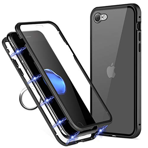 TiiParPar iPhone 8 Magnetic Case iPhone 7 Ultra Slim Protective Case Metal Frame Two Side Tempered Glass Back for iPhone 7/8[Magnetic Adsorption] [Ring Holder](Black Frame + Clear Back)