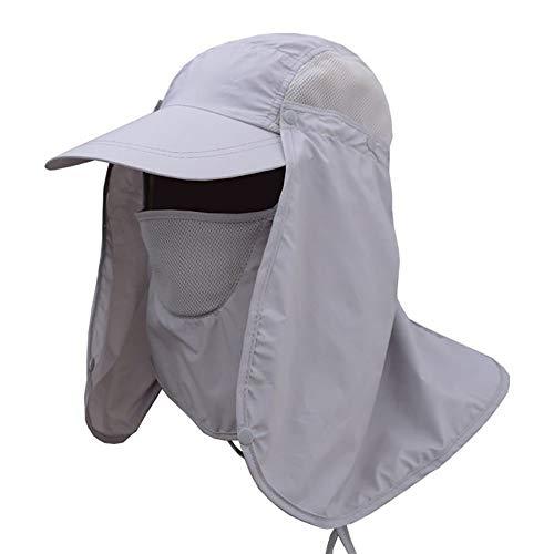 Lurowo Sonnenhut 360 ° UV Schutz Sonnenmütze Hut mit Nackenschutz,Baseball Kappe Fischerhut Unisex Faltbar Atmungsaktiv Wanderhut (Hellgrau)