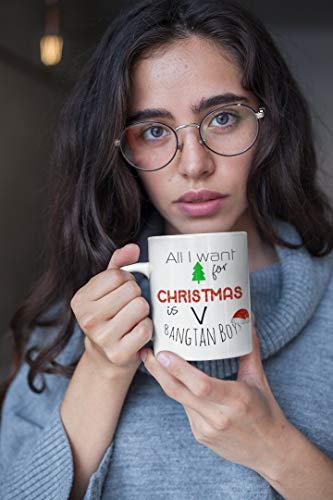 Ad4ssdu4 Bangtan Boys Kerstmis koffiemok BTS Alles, wat ik voor Kerstmis uw naam kpop fan band leden Koreaanse pop-kpop cadeau keramische mok Will