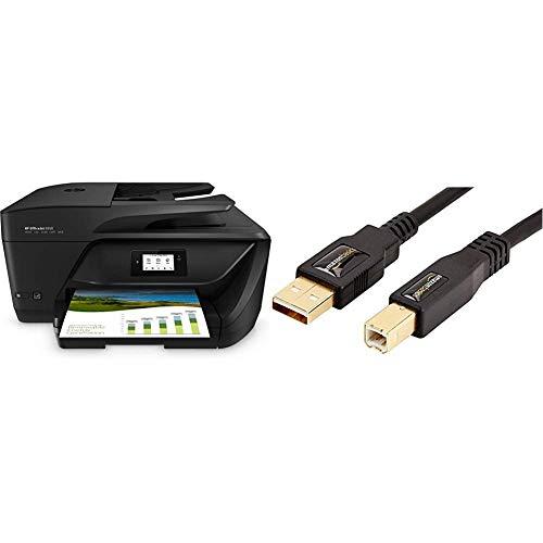 HP OfficeJet 6950, Stampante Multifunzione a Getto di Inchiostro, Stampa, Fax, Wi-Fi Direct, Nero & AmazonBasics Cavo USB 2.0 maschio A/maschio B (3 m)