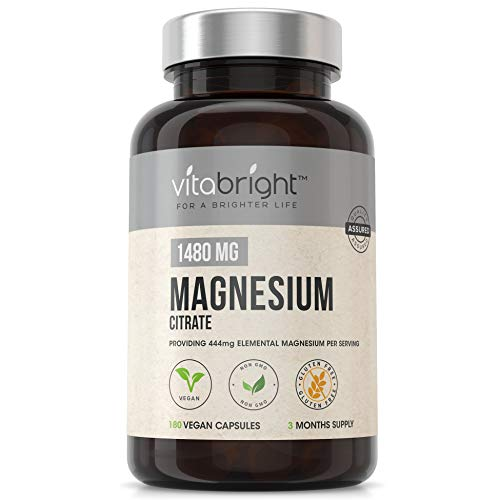 Magnesium Citrate 1480mg with 444mg Elemental Magnesium per Serving - 180 Super Strength Capsules -3 Months Supply - for Healthy Bones & Muscle Function - Daily Vitamins Supplements for Men & Women