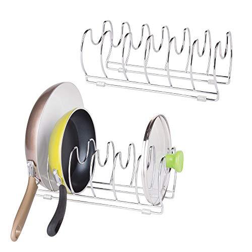 mDesign Juego de 2 Organizador de sartenes y tapaderas – Soporte de metal cromado con 6 compartimentos para sartenes y tapas de ollas – Organizador de cajones y armarios de cocina