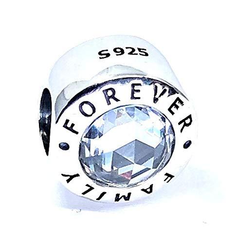 Missy jewels Charm 100% Plata Ley 925 y 2 circonitas Compatible con Pulseras para Charms Tipo Pandora, Chamilia, Swarovski, etc. Abalorio Familia Cristal