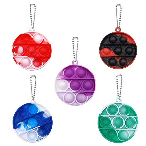 Coolsion 5Pcs Mini Simple Dimple Fidget Toy Stress Relief Hand Toys Keychain Toy Bubble Wrap PopAnxiety Stress Reliever Office Desk Toy for Kids Adults