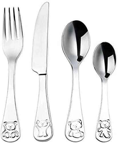Vajilla para niños de acero inoxidable 304 lindo suplemento de comida para bebés de dibujos animados cuchillo tenedor cuchara de tres piezas vajilla de estilo occidental