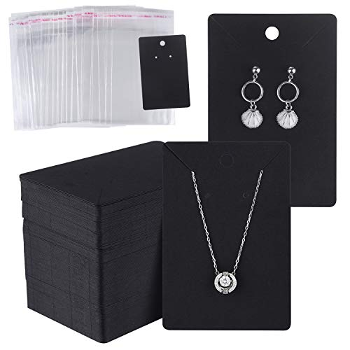 MIAHART 150 Set Earring Display Card with 150 Pcs Self-Seal Bags, Earring Holder Card for Selling DIY Ear Studs, Earrings and Jewelry Display (Black)