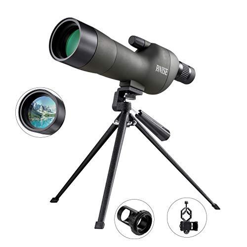 BNISE® Telescopio terrestre Profesional, Zoom 20-60x60, Lentes ópticas recubiertas FMC, con Soporte para trípode, Clip para cámara de teléfono móvil, cámara, Clip para cámara