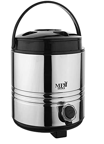 MITRO Stainless Steel Hot & Cold Water Camper Insulated Thermosteel Jug Steel Water Container with tap for Gifting Purpose - 8 LTR (Silver Black)