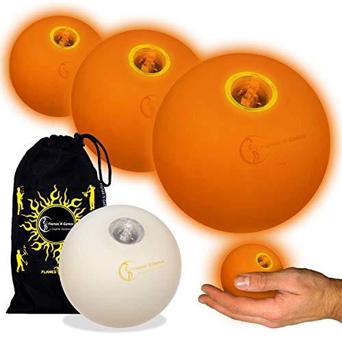 LED Jonglierbälle 3er Set (Orange) - Profi Glow Leuchtbälle mit LED-Licht und Batterien +Tasche. Set Ideal Für Anfänger Wie Auch Für Profis.